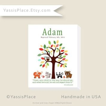 Woodland Animals Print or Canvas Wall Art, Forest Friends Baptism Gift, Christening Gift, Personalized Canvas Art, Custom Name Wall Art Sign