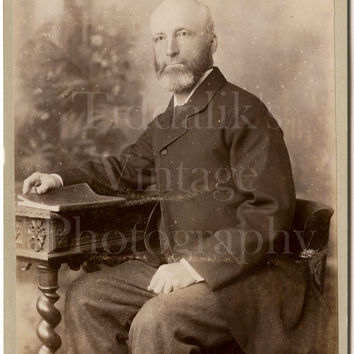 Cabinet Card Photo Victorian Bald Bearded Man, Smart Jacket, Holding Book Seated Portrait - Lord of Cambridge - Antique Photograph