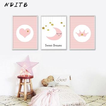 NDITB Baby Nursery Wall Art Posters Cartoon Moon Canvas Prints Minimalist Painting Wall Picture Nordic Kids Bedroom Decoration