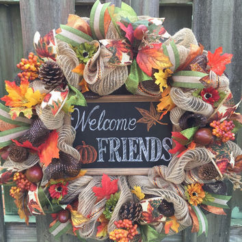 Fall Welcome Wreath, Fall Deco Mesh Wreath, Rustic Fall Decor, Harvest Wreath, Thanksgiving Wreath, Welcome Wreath, Rustic Wreath, Autumn