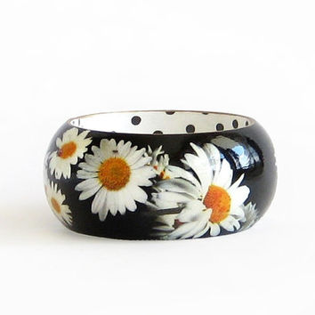 Daisy Wooden Bracelet Wood Bangle Black White Yellow Floral Bracelet Hand Paint Decoupage Black White Jewelry