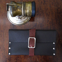 Dark brown leather pouch by TutsandcrasH on Etsy