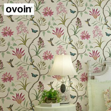 American Style Bedroom Wall Covering modern Vintage Pink Floral Wallpaper Blue Tropical Butterfly Birds Flower Wall Paper
