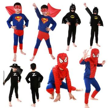Red spiderman costume spiderman batman superman halloween costumes kids boy girl superhero capes anime cosplay carnival Suit