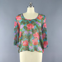 Floral Print Blouse / Chiffon / Vintage Indian Sari / Boho Style / Size Small S