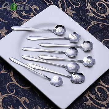 8pcs/set Stainless Coffee Spoon Flower Shape Dessert Spoon Ice Cream Candy Tea Spoon Stirring Snacks Scoop Tableware Flatware