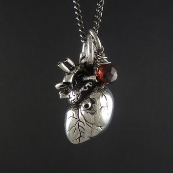 "Anatomical Heart Necklace with Sterling Silver Wire Wrapped Garnet - Antique Silver Anatomical Heart Pendant on 24"" Gunmetal Chain"