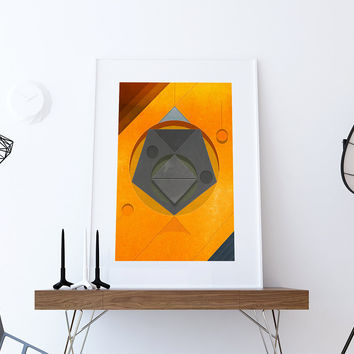 Mid Century Modern Print Geometric Vintage Retro Abstract Art Print Poster Giclee on Cotton Canvas and Paper Canvas Wall Decor