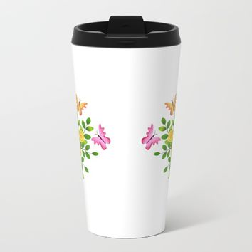 butterflies and florals coffee mugs Metal Travel Mug by Coffee Cup Heaven