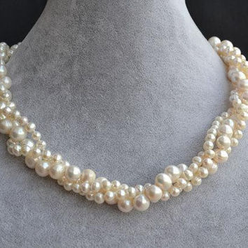 Ivory Pearl Necklace,5-9mm 3 Strands Freshwater Pearl Necklace,Wedding Pearl Necklace, Bridesmaid Gift Jewelry.New Free Shipping.