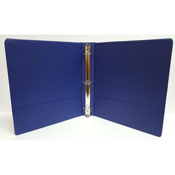 "1"" Basic 3-Ring Binder w/ Two Inside Pockets - Blue"