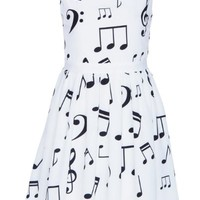 Romwe Women's Black Musical Notes Patterns Print Sleeveless Polyester Dress