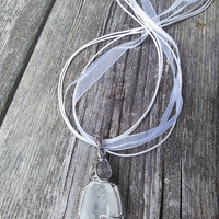 Quartz Crystal Necklace,Crystal Pendant, Ribbon Necklace, Gypsy Necklace, Wiccan Pagan Jewelry, Shaman Necklace, Healing Crystals
