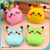 Lymouko New Style Cartoon Patterns Pocket with Mirror Contact Lenses Case for Women Gift Kit Container Lens Box