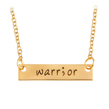 Warr;or Warrior Bar Long Necklaces & Pendants For Women Gold Silver Simple Charm Letters Chain Choker Men Jewelry New Year Gifts