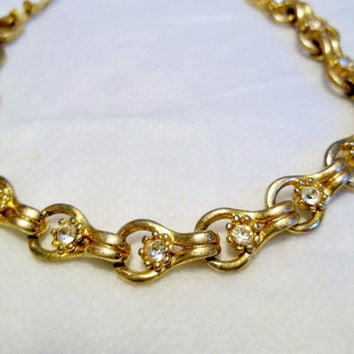 Circa 1960's Tennis Bracelet, Gold Tone, Love Knot Links w Large, Quality Clear Stones, Goldtone, Gold Tone Jewelry, BraceletNo Hallmarks