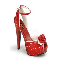 Red Satin Fabric Polka Dot Print Peep Toe Floral Heels