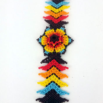 Huichol bracelet -  Peyote Flower - Colorful bracelet Mexican Handmade  - unique gift
