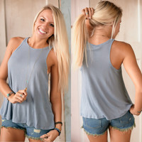 Free People Long Beach Tank (River Blue) - Piace Boutique