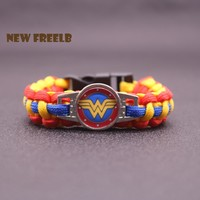 New DC Comic Movie Wonder Woman Logo Inspired Paracord Bracelets Handmade Blue Red White Fashion Outdoor Jewelry Superhero fans