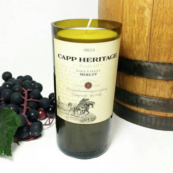 Recycled Miniature Wine Bottle Soy Candle Scented With Merlot Wine/Repurposed Capp Heritage Vino Winery Bottle/Glass Art