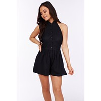 Catch Some Rays Button Up Halter Romper (Black)