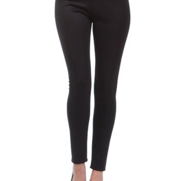 Simply Straight High Waisted Leggings-Black