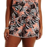 Plus Size Pom-Pom Trim Tropical Print Tulip Shorts