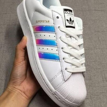 """""""Adidas"""" Fashion Reflective Shell-toe Flats Sneakers Sport Shoes High quality"""