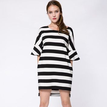 Stylish Scoop Collar 3/4 Sleeve Striped High-Low Hem Women's Dress