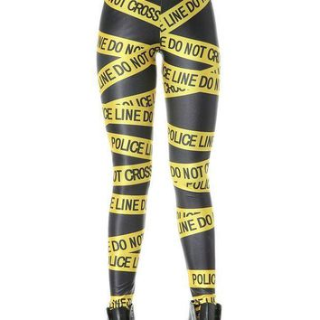 ESBON Fashion 3063  sexy girl women do not cross police warning line 3D prints Polyester elastic fitness Leggings Pants
