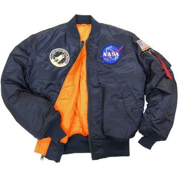 Alpha Industries Men's NASA MA-1 Bomber Flight Jacket, Replica Blue, Large