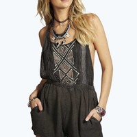 Ellie Washed & Embroidered Tie Back Playsuit