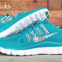 Women's Nike Free Run 5.0+ Running Shoes Hand Customized By Glitter Kicks With Swarovski Crystal Rhinestones - Teal/White