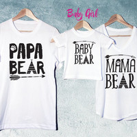 Papa Bear+Mama Bear+Baby Bear Set of 3 White, Baby shower gift, Mothers day & Fathers day gift