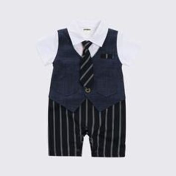 Jane Z Ann Baby boy gentlemen jumpsuit 2 colors  infant toddler short sleeve long tie striped outfit  baby Onesuit