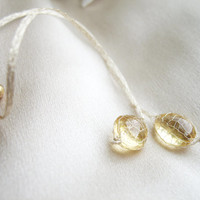 OOAK Long earrings studs with AAA grade citrine 'Sunshine drops'