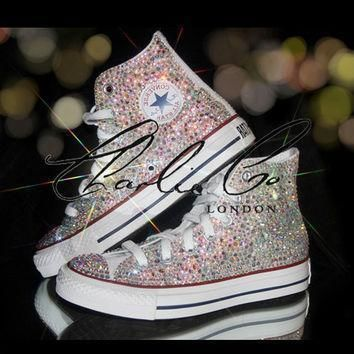 charlie co ab crystal strass swarovski glass hi top converse trainers