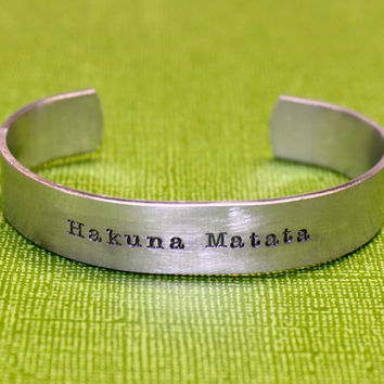 Hakuna Matata - Custom Hand Stamped Bracelet by The Stampster
