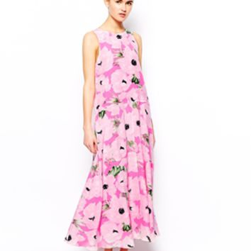 French Connection Maxi Dress in Silk Poppy Print
