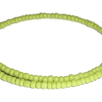 Neon Green Glass Crystal Accented Beaded Artisan Crafted Stackables Wrap Bracelet (XS-S)