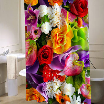 rainbow flower shower curtain customized design for home decor