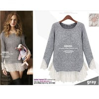 Gray And Lace Hem Sweater