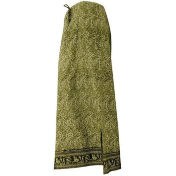 ONETOW Green Indian Print Drawstring Skirt