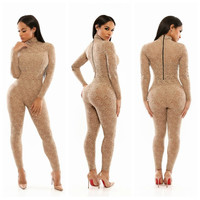Apricot Crochet Lace Long Sleeve Jumpsuit with Back Zipper