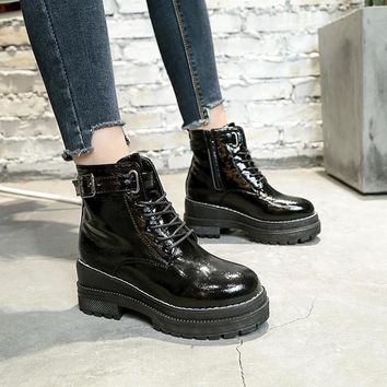 BOOTS SHOES Women's Punk Dr Martin Style Lace Up Buckle Female