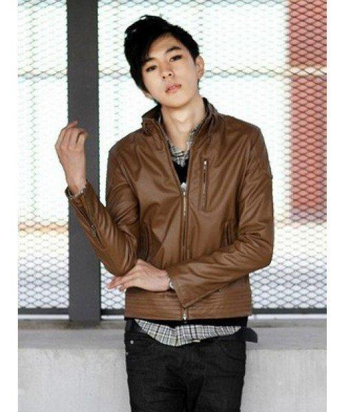 Men Stand Collar Brown Zipper Faux Leather M/L/XL@YSP150bro