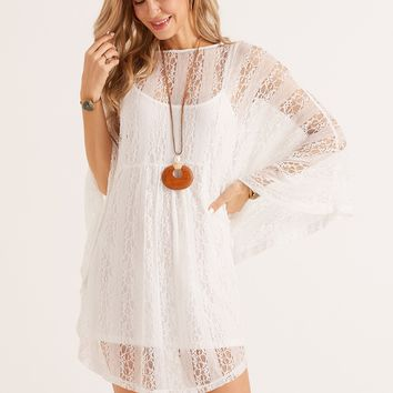 SBetro Batwing Sleeve Lace Dress With Cami