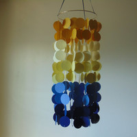 Nursery mobile, baby mobile, Yellow and blue ombre floating circles mobile. Nursery mobile, Crib mobile, paper circle mobile, Birthday.