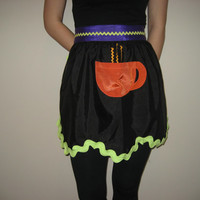 Coffee lover's whimsical retro style half apron with pocket. Free shipping.